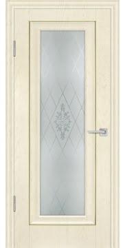 Межкомнатная дверь, FK013 (экошпон ваниль, остекленная)
