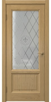 Межкомнатная дверь FK014 (натуральный шпон дуба / стекло с гравировкой) — 5144