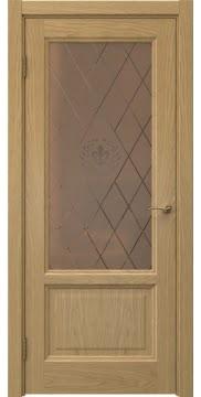 Межкомнатная дверь, FK014 (шпон дуб натуральный, стекло бронзовое)