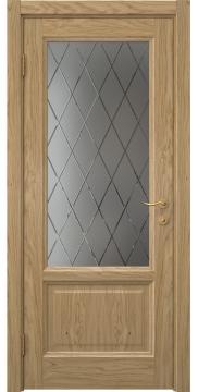 Межкомнатная дверь FK014 (натуральный шпон дуба / стекло с гравировкой) — 5128