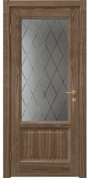 Межкомнатная дверь FK014 (шпон американский орех / стекло с гравировкой) — 5145
