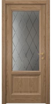 Межкомнатная дверь FK014 (шпон дуб светлый / стекло с гравировкой) — 5140