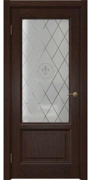 Межкомнатная дверь FK014 (шпон дуб коньяк / стекло с гравировкой) — 5139