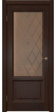 Межкомнатная дверь FK014 (шпон дуб коньяк / стекло бронзовое с гравировкой) — 5140