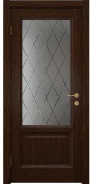 Межкомнатная дверь FK014 (шпон дуб коньяк / стекло с гравировкой) — 5127