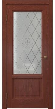 Межкомнатная дверь FK014 (шпон красное дерево / стекло с гравировкой) — 5145