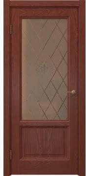Межкомнатная дверь FK014 (шпон красное дерево / стекло бронзовое с гравировкой) — 5146