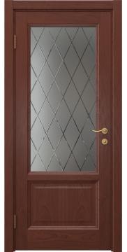 Межкомнатная дверь FK014 (шпон красное дерево / стекло с гравировкой) — 5131