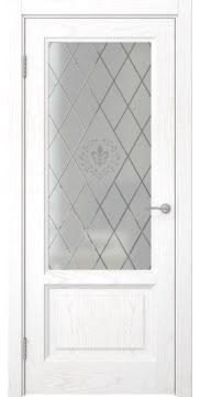 Межкомнатная дверь FK014 (шпон ясень белый / стекло с гравировкой) — 5132