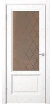 Межкомнатная дверь FK014 (шпон ясень белый / стекло бронзовое с гравировкой) — 5131