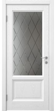 Межкомнатная дверь с каркасом из массива сосны и МДФ, FK014 (шпон ясень белый, остекленная)