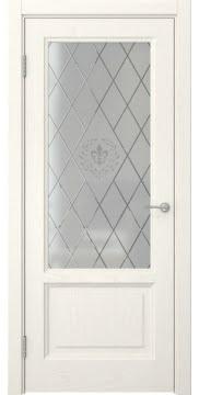 Межкомнатная дверь FK014 (шпон ясень слоновая кость / стекло с гравировкой) — 5127