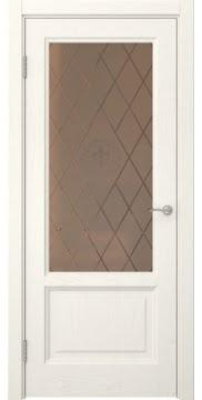 Межкомнатная дверь FK014 (шпон ясень слоновая кость / стекло бронзовое с гравировкой) — 5128