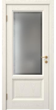 Межкомнатная дверь, FK014 (шпон ясень слоновая кость, остекленная)