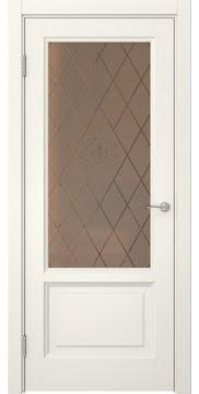 Межкомнатная дверь FK014 (эмаль слоновая кость / стекло бронзовое с гравировкой) — 5134