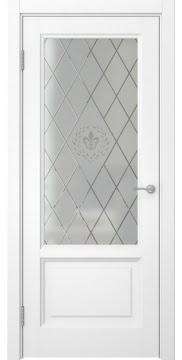 Межкомнатная дверь FK014 (белая эмаль / стекло с гравировкой) — 5136