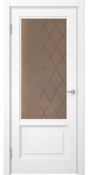 Межкомнатная дверь FK014 (белая эмаль / стекло бронзовое с гравировкой) — 5137