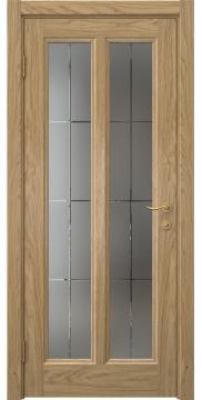 Межкомнатная дверь, FK015 (шпон дуб натуральный, матовое стекло)