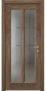 Межкомнатная дверь FK015 (шпон американский орех / стекло решетка) — 5167
