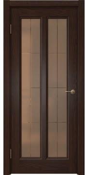 Межкомнатная дверь FK015 (шпон дуб коньяк / стекло бронзовое решетка) — 5152
