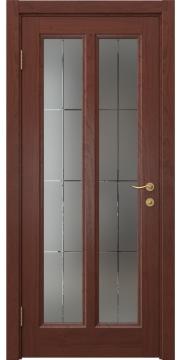 Межкомнатная дверь FK015 (шпон красное дерево / стекло решетка) — 5150
