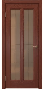 Межкомнатная дверь FK015 (шпон красное дерево / стекло бронзовое решетка) — 5148
