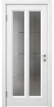 Межкомнатная дверь FK015 (шпон ясень белый / стекло решетка) — 5162