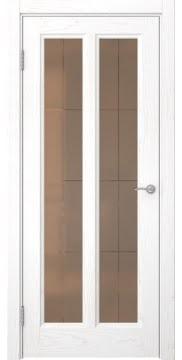 Межкомнатная дверь FK015 (шпон ясень белый / стекло бронзовое решетка) — 5161
