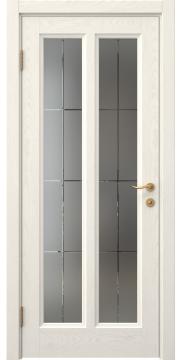 Межкомнатная дверь, FK015 (шпон ясень слоновая кость, матовое стекло)