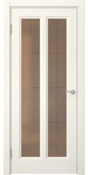 Межкомнатная дверь FK015 (шпон ясень слоновая кость / стекло бронзовое решетка) — 5158