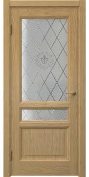 Межкомнатная дверь FK016 (натуральный шпон дуба / стекло с гравировкой) — 5184