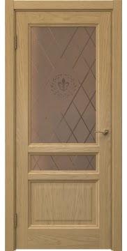 Межкомнатная дверь FK016 (натуральный шпон дуба / стекло бронзовое с гравировкой) — 5183