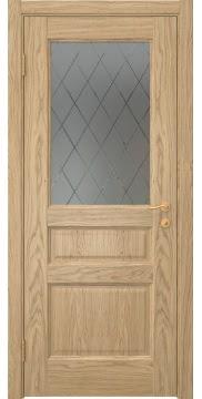 Межкомнатная дверь, FK016 (шпон дуб натуральный, остекленная)