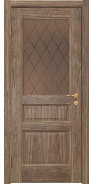Межкомнатная дверь FK016 (шпон американский орех / стекло рамка) — 5163