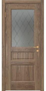 Межкомнатная дверь FK016 (шпон американский орех / стекло с гравировкой) — 5161