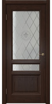 Межкомнатная дверь FK016 (шпон дуб коньяк / стекло с гравировкой) — 5192