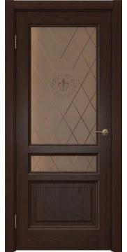 Межкомнатная дверь FK016 (шпон дуб коньяк / стекло бронзовое с гравировкой) — 5191