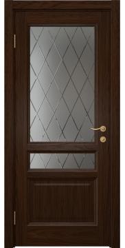 Межкомнатная дверь FK016 (шпон дуб коньяк / стекло с гравировкой) — 5134