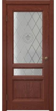 Межкомнатная дверь FK016 (шпон красное дерево / стекло с гравировкой) — 5188
