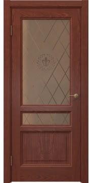 Межкомнатная дверь FK016 (шпон красное дерево / стекло бронзовое с гравировкой) — 5187