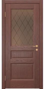 Межкомнатная дверь FK016 (шпон красное дерево / стекло рамка) — 5190