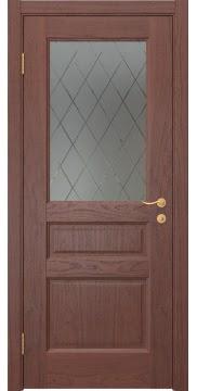 Межкомнатная дверь FK016 (шпон красное дерево / стекло с гравировкой) — 5136