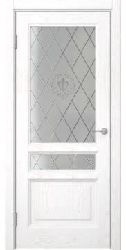 Межкомнатная дверь FK016 (шпон ясень белый / стекло с гравировкой) — 5204