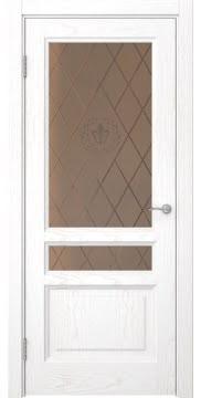 Межкомнатная дверь FK016 (шпон ясень белый / стекло бронзовое с гравировкой) — 5203