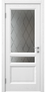 Межкомнатная дверь FK016 (шпон ясень белый / стекло с гравировкой) — 5137
