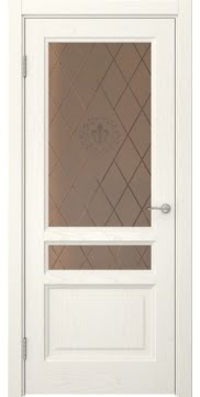 Межкомнатная дверь FK016 (шпон ясень слоновая кость / стекло бронзовое с гравировкой) — 5207