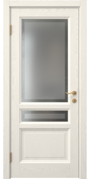 Дверь классика FK016 (шпон ясень слоновая кость, остекленная)