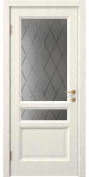 Межкомнатная дверь, FK016 (шпон ясень слоновая кость, остекленная)