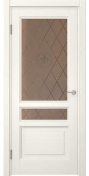 Межкомнатная дверь FK016 (эмаль слоновая кость / стекло бронзовое с гравировкой) — 5199