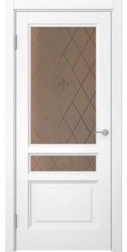 Межкомнатная дверь FK016 (белая эмаль/ стекло бронзовое с гравировкой) — 5195